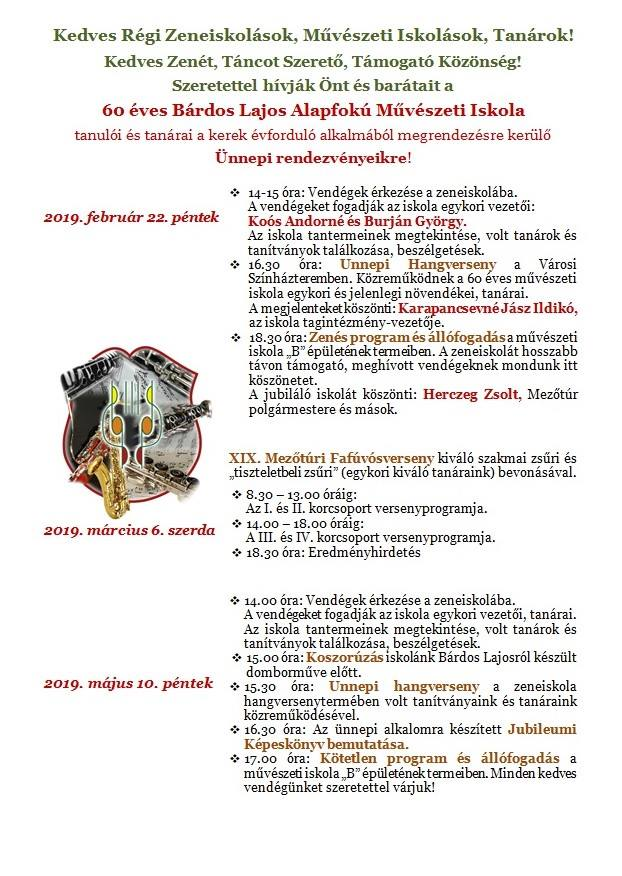 60 éves a Mezőtúri Bárdos Lajos Alapfokú Művészeti Iskola @ Mezőtúri Bárdos Lajos Alapfokú Művészeti Iskola | Mezőtúr | Magyarország