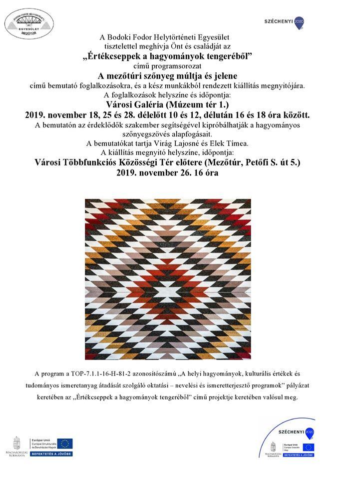 A mezőtúri szőnyeg múltja és jelene – foglalkozások és kiállítás @ Mezőtúr, Városi Galéria   Mezőtúr   Magyarország