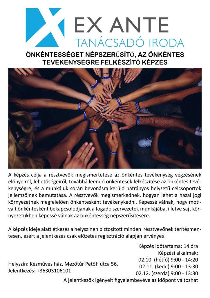 EX ANTE - Önkéntességet népszerűsítő képzés @ Mezőtúr, Kézműves Ház   Mezőtúr   Magyarország