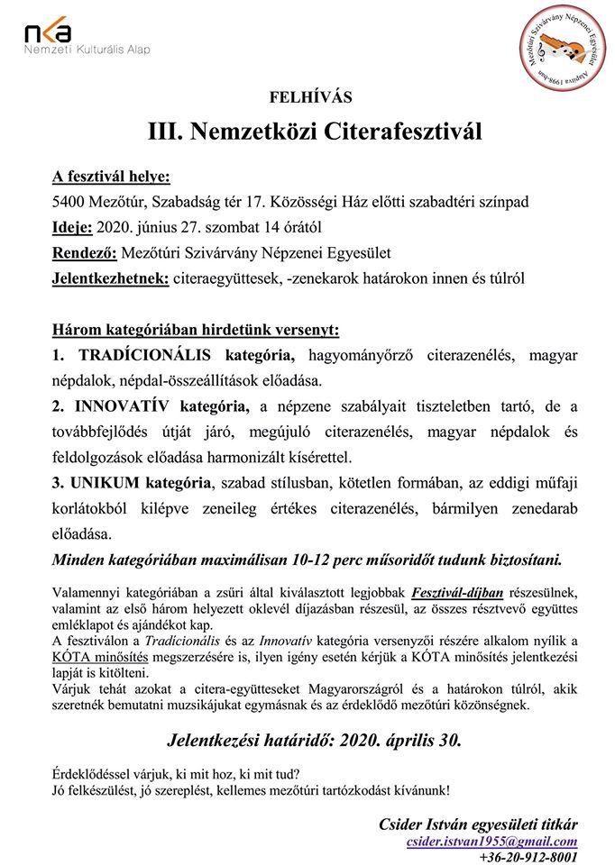 III. Nemzetközi Citerafesztivál @ Mezőtúr, Közösségi Ház előtti terület | Mezőtúr | Magyarország